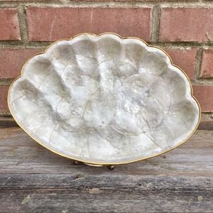 Vintage Capiz Shell Brass Trim Scallop Shell Tray